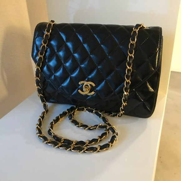 89a20d50b61a CHANEL Bags | Sold Auth Quilted Black Lambskin Crossbody | Poshmark